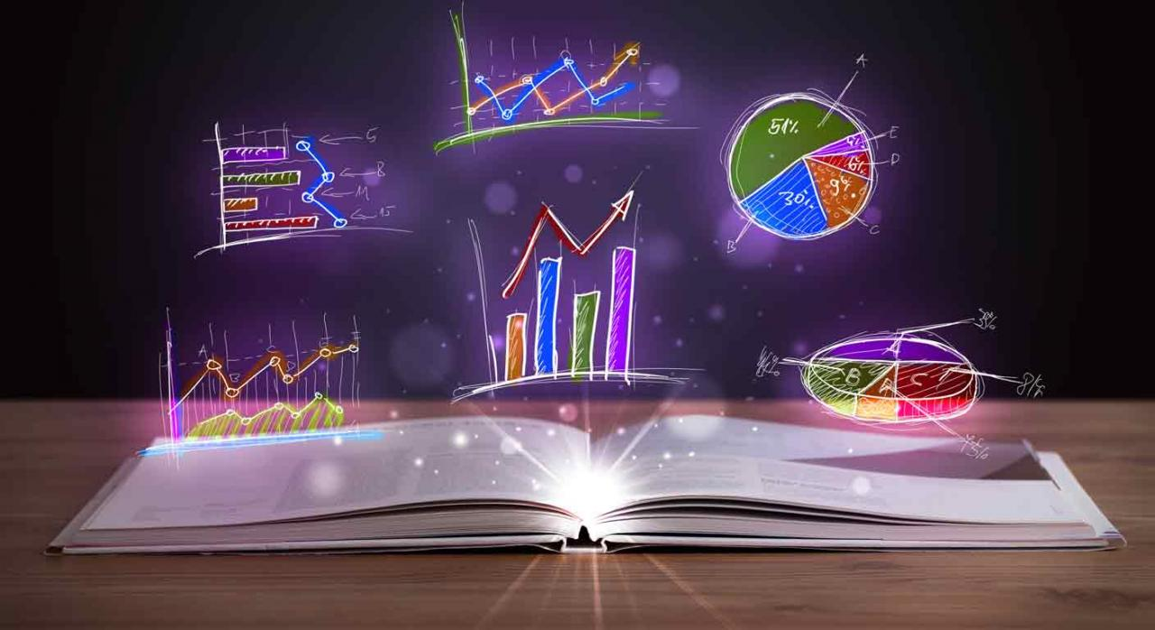 Contabilidad y finanzas para no financieros. Libro abierto encima de una mesa desde el que salen ilustraciones de gráficos brillantes