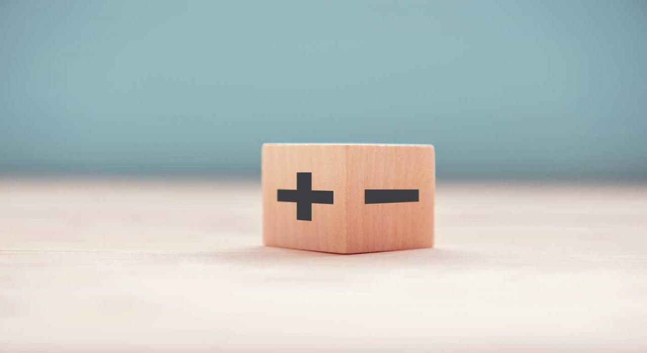 Diferencias permanentes. Imagen de un cuadrado con el signo mas y el signo menos