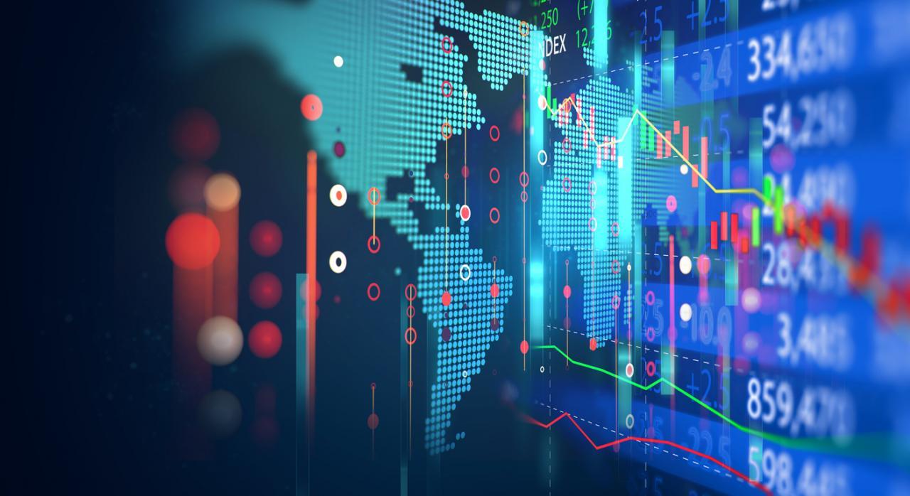 Transacciones. Gráfico de inversión en el mercado bursátil con datos de indicador y volumen