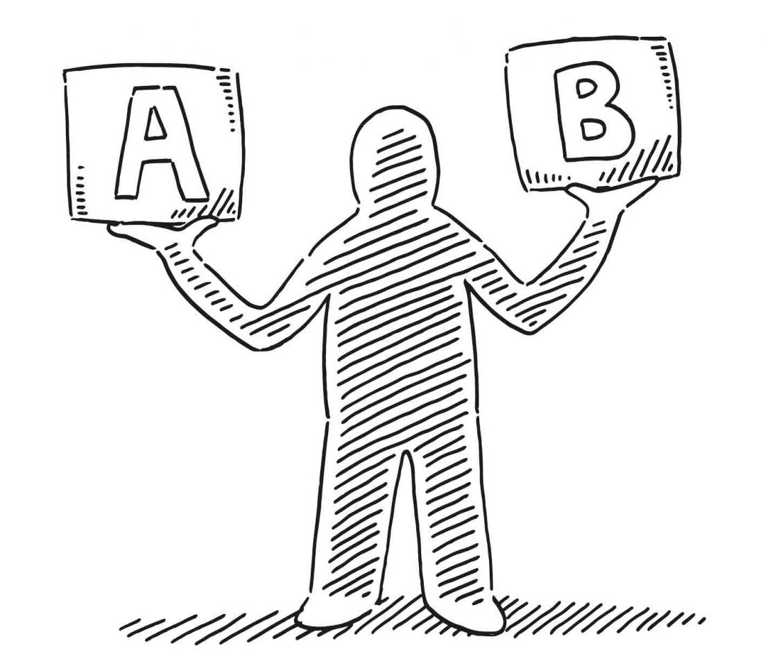 El juicio por la caja B del PP. Imagen de un muñeco con los brazos en alto como una balanza, y en un brazo tiene la letra A y en el otro la letra B