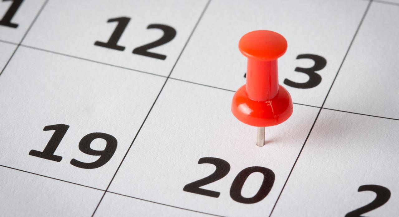 Plazo. Imagen de un calendario marcado